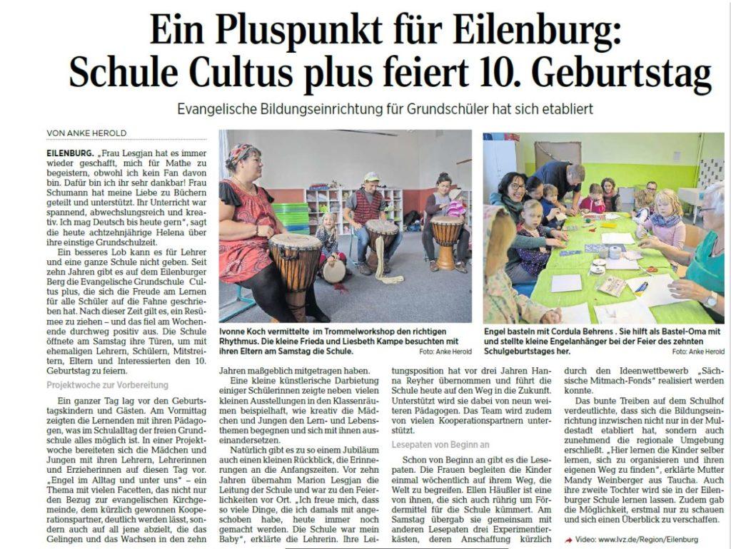 Bericht in der Zeitung über die Schule Cultus plus