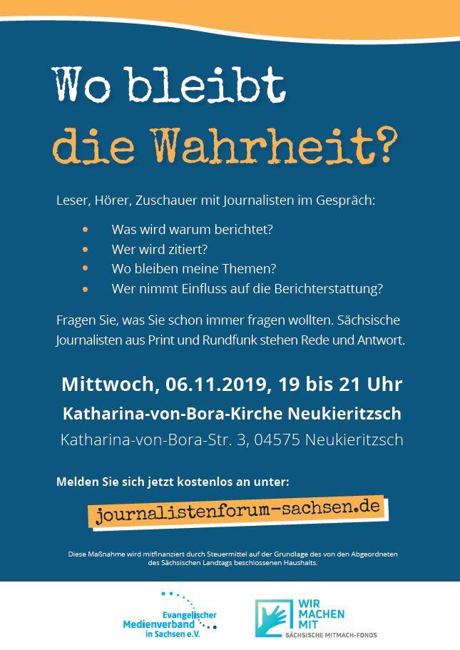 Ein Plakat informiert über das Journalistenforum