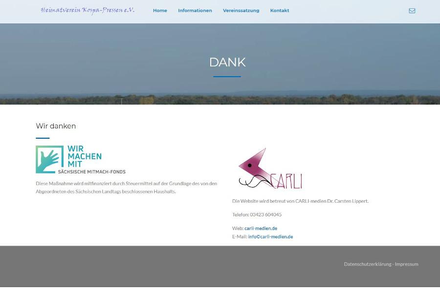 Die Danksagung für den Sächsichen Mitmach-Fonds auf der Internetseite vom Heimatverein