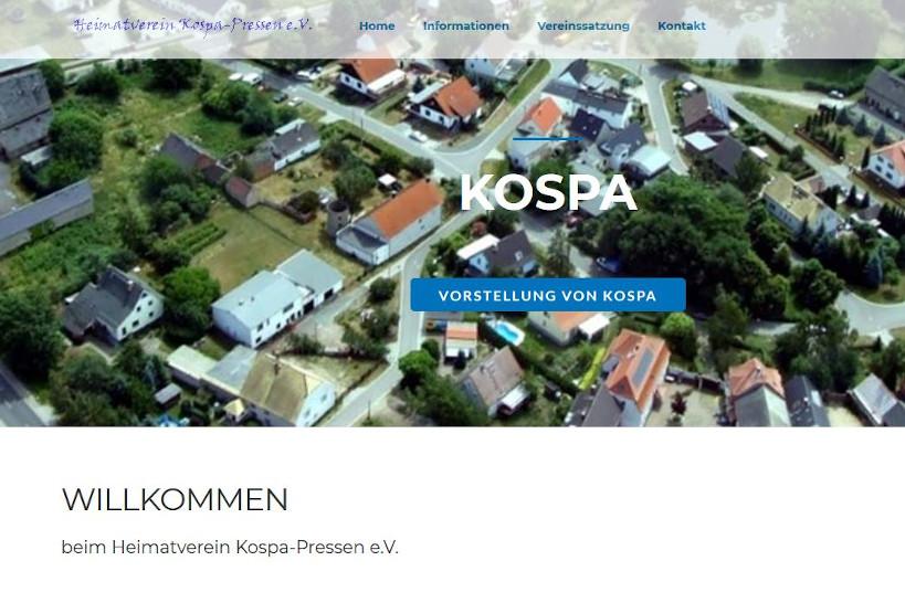 Die Startseite vom Heimatverein Kospa-Possen