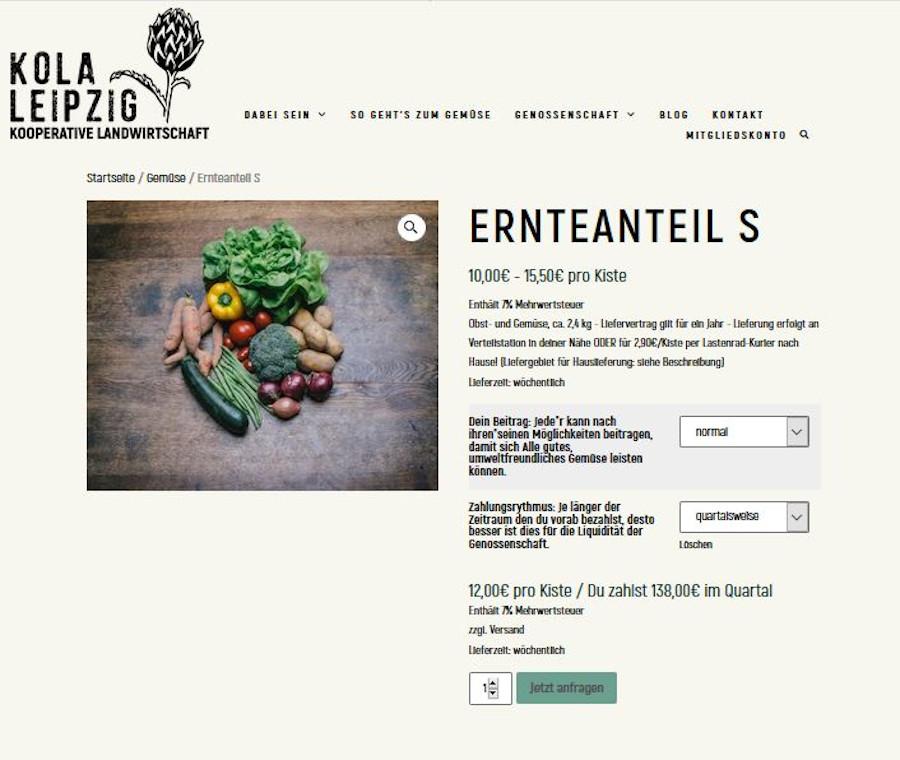 Das Bestellsystem auf der Internetseite für Genossenschaftsmitglieder