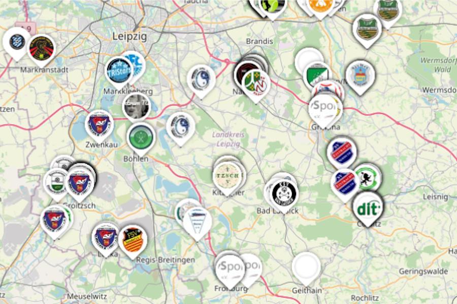 Die neue Trainingslandkarte mit Sportvereinen der Region