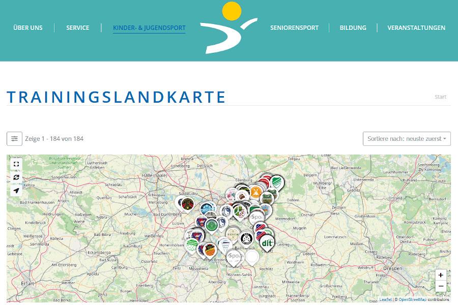 Ansicht der Internetseite mit der neuen Trainingslandkarte