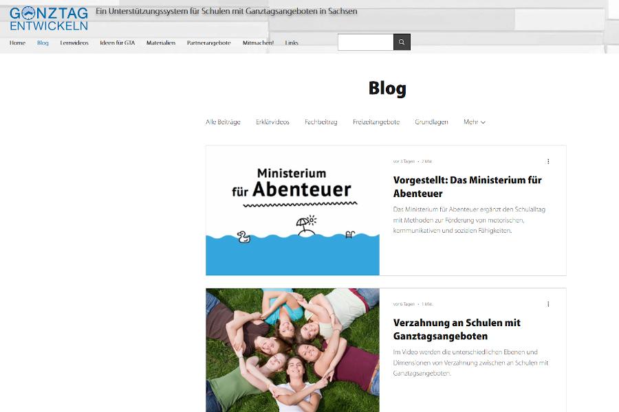 Eine der vielen Seiten des Unterstützungssystems für Schulen mit ganztagsangeboten in Sachsen